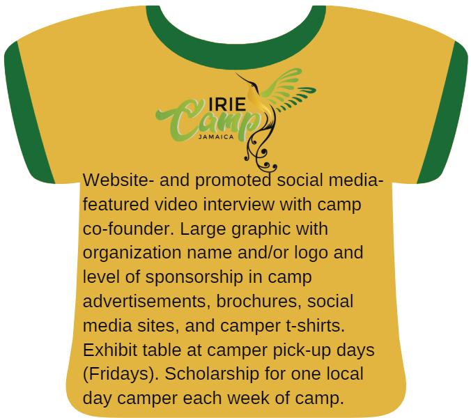 Website- and promoted social media-featured video interview with camp co-founder. Large graphic with organization name and/or logo and level of sponsorship in camp advertisements, brochures, social media sites, and camper t-shirts. Exhibit table at camper pick-up days (Fridays). Scholarship for one local day camper each week of camp.