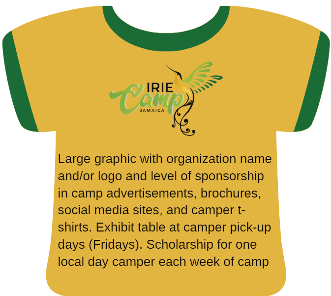 Gold: Large graphic with organization name and/or logo and level of sponsorship in camp advertisements, brochures, social media sites, and camper t-shirts. Exhibit table at camper pick-up days (Fridays). Scholarship for one local day camper each week of camp.